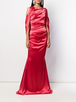 Picture of Satin Waist Wrap Evening Gown